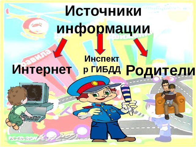 Источники информации Интернет Инспектр ГИБДД Родители