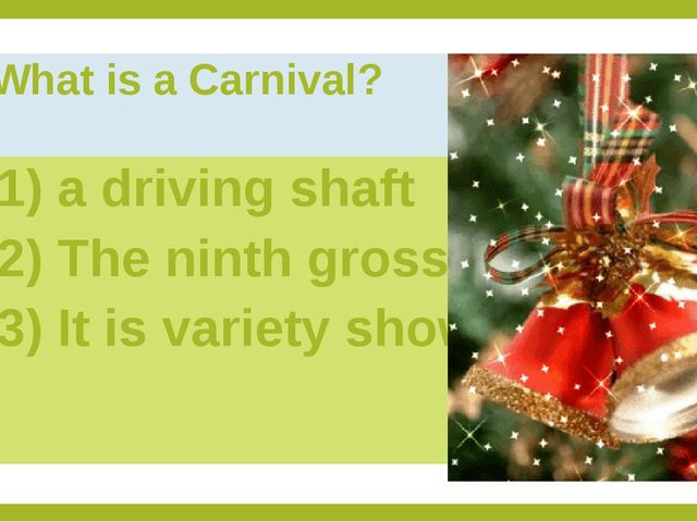 What is a Carnival? 1) a driving shaft 2) The ninth gross 3) It is variety show