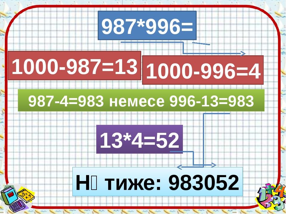 987*996= 1000-987=13 1000-996=4 987-4=983 немесе 996-13=983 13*4=52 Нәтиже: 9...