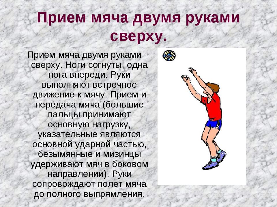 Прием мяча двумя руками сверху. Прием мяча двумя руками сверху. Ноги согнуты,...