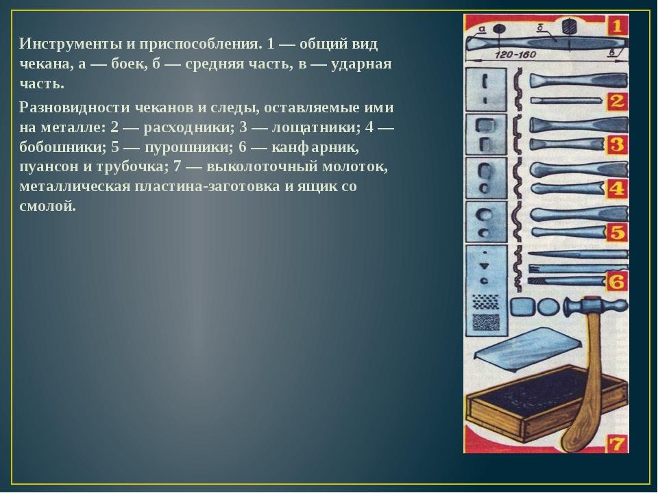 Инструменты и приспособления. 1 — общий вид чекана, а — боек, б — средняя час...