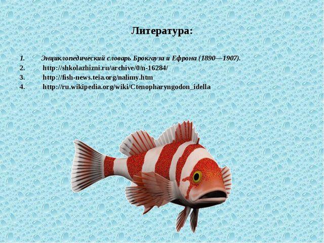 Литература: Энциклопедический словарь Брокгауза и Ефрона (1890—1907). http://...