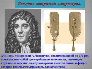 История открытия микроскопа. XVII век. Микроскоп А.Левенгука, увеличивающий д