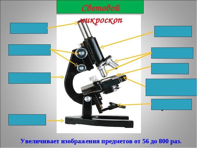 Увеличивает изображения предметов от 56 до 800 раз. окуляр тубус объективы п...