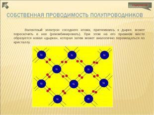 Валентный электрон соседнего атома, притягиваясь к дырке, может перескочить
