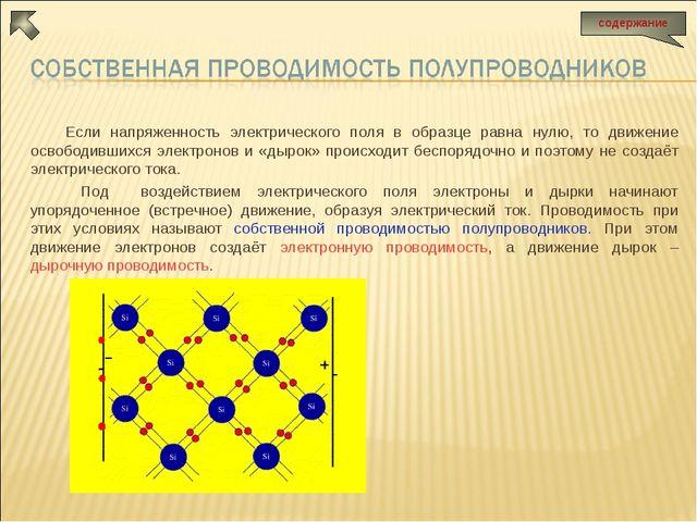 Если напряженность электрического поля в образце равна нулю, то движение осво...
