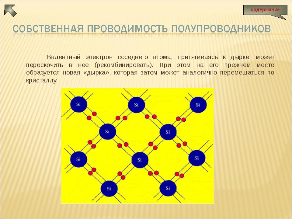 Валентный электрон соседнего атома, притягиваясь к дырке, может перескочить...