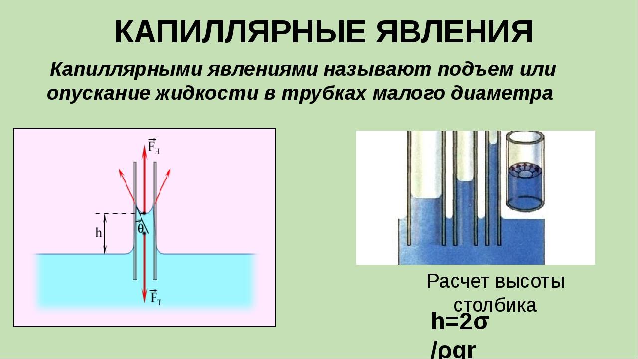 КАПИЛЛЯРНЫЕ ЯВЛЕНИЯ h=2σ /ρgr Расчет высоты столбика Капиллярными явлениями н...