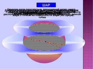 Шаром называется множество точек пространства, расположенных на расстоянии не