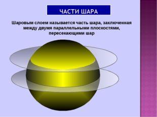 Шаровым слоем называется часть шара, заключенная между двумя параллельными пл