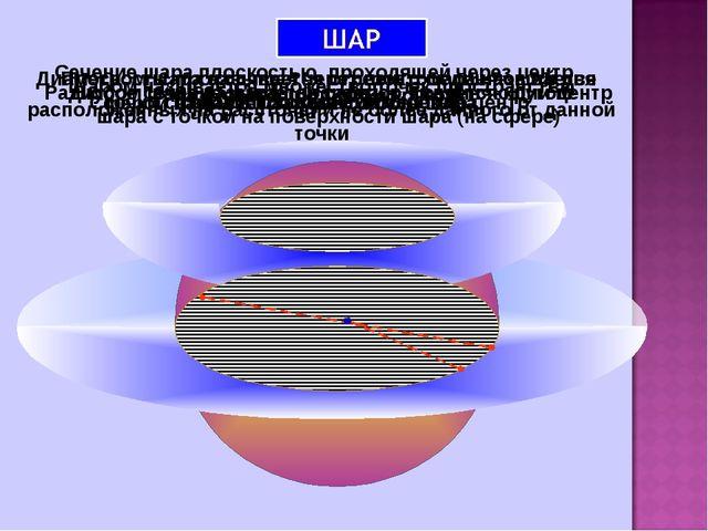 Шаром называется множество точек пространства, расположенных на расстоянии не...