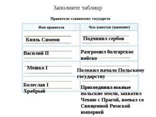 Заполните таблицу Князь Симеон Подчинил сербов Василий II Разгромил болгарско