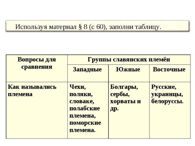 Вопросы для сравненияГруппы славянских племён Западные Южные Восточные...