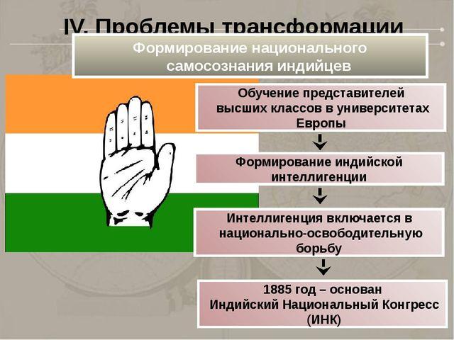 IV. Проблемы трансформации Индии Формирование национального самосознания инди...