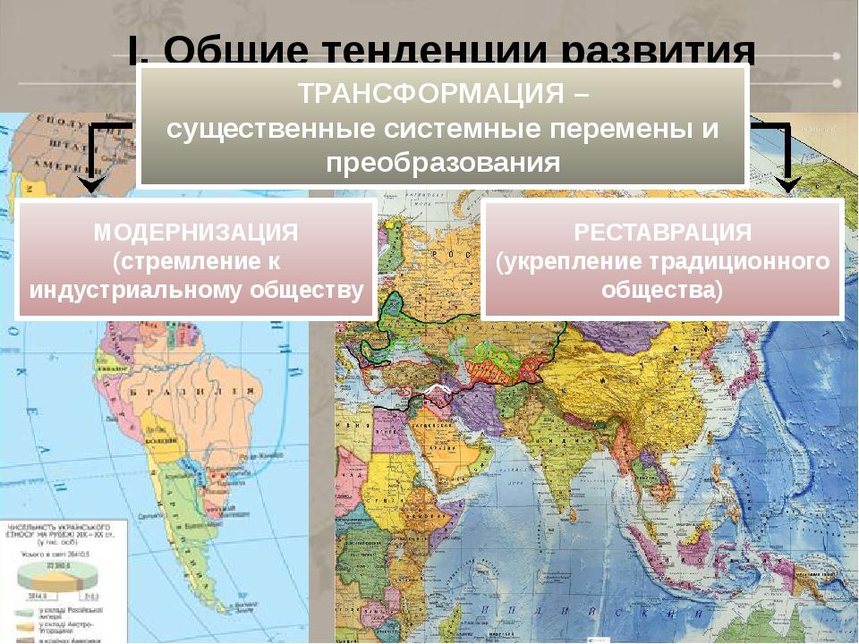 I. Общие тенденции развития ТРАНСФОРМАЦИЯ – существенные системные перемены и...
