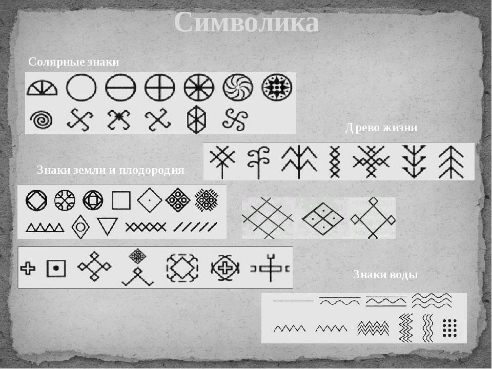 Символика Солярные знаки Знаки земли и плодородия Древо жизни Знаки воды