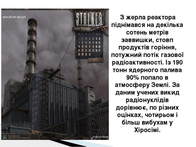 З жерла реактора піднімався на декілька сотень метрів заввишки, стовп продук...