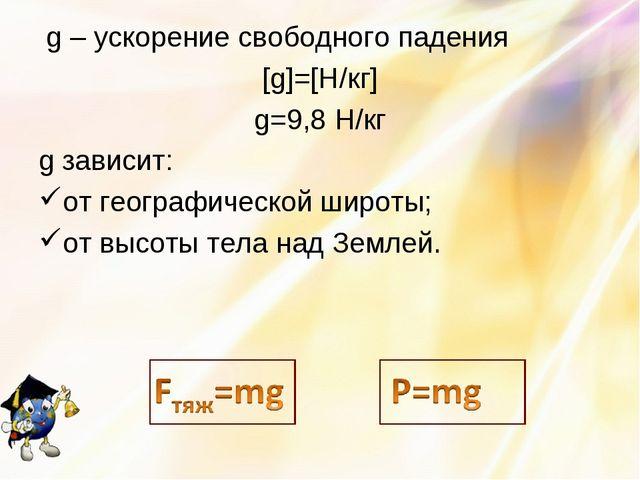 g – ускорение свободного падения [g]=[H/кг] g=9,8 Н/кг g зависит: от географ...