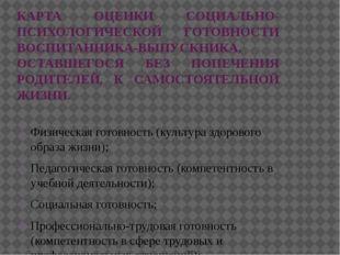 КАРТА ОЦЕНКИ СОЦИАЛЬНО-ПСИХОЛОГИЧЕСКОЙ ГОТОВНОСТИ ВОСПИТАННИКА-ВЫПУСКНИКА, ОС