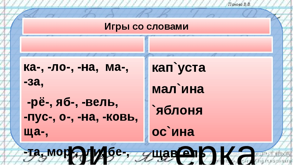 Игры со словами Собери слова из слогов ка-, -ло-, -на, ма-, -за, -рё-, яб-, -...