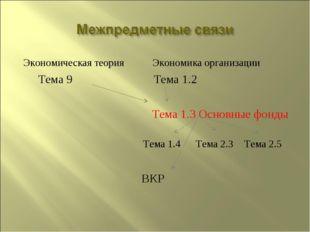 Экономическая теория Экономика организации Тема 9 Тема 1.2 Тема 1.3 Основные