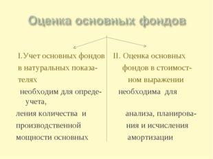 I.Учет основных фондов II. Оценка основных в натуральных показа- фондов в ст