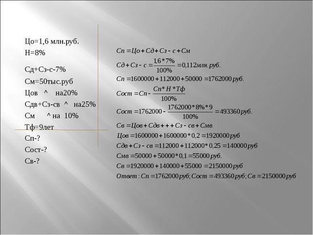 Цо=1,6 млн.руб. Н=8% Сд+Сз-с-7% См=50тыс.руб Цов ^ на20% Сдв+Сз-св ^ на25% См...