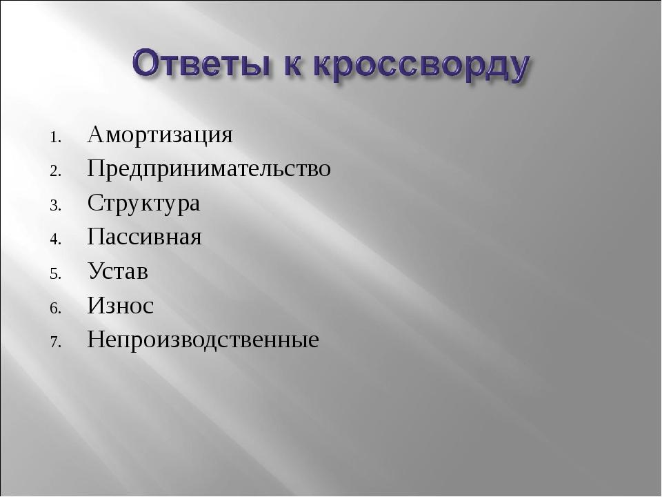 Амортизация Предпринимательство Структура Пассивная Устав Износ Непроизводств...
