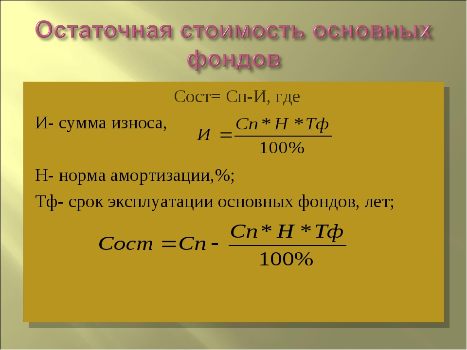 Сост= Сп-И, где И- сумма износа, Н- норма амортизации,%; Тф- срок эксплуатаци...