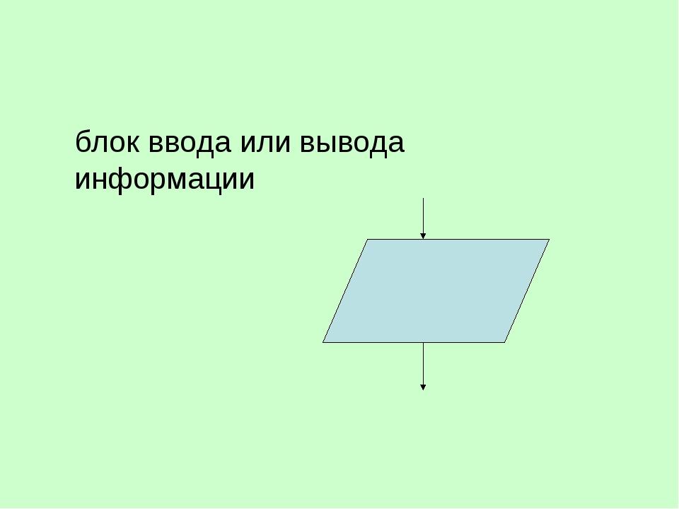 блок ввода или вывода информации