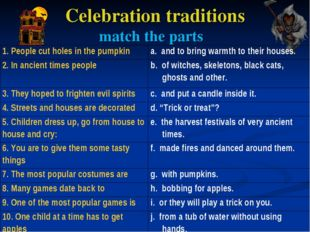 Celebration traditions match the parts 1. People cut holes in the pumpkina.