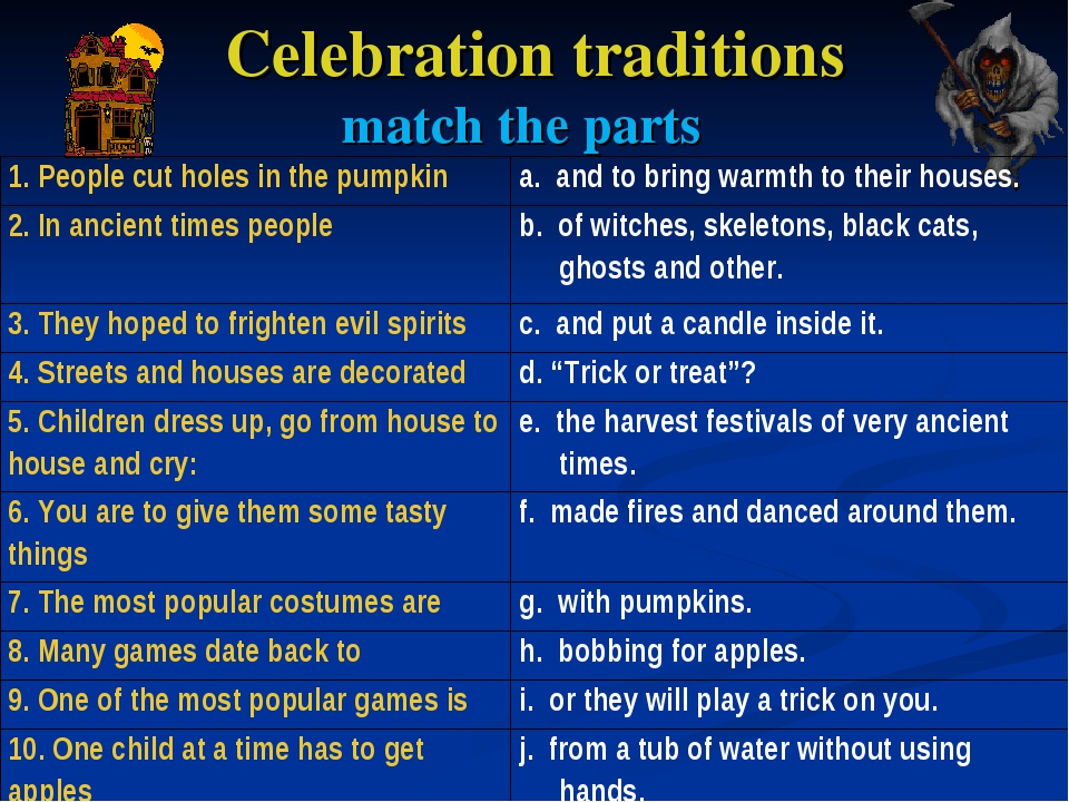 Celebration traditions match the parts 1. People cut holes in the pumpkina....