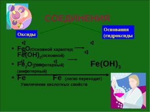 СОЕДИНЕНИЯ FeO(Основной характер) Fe(OH)2(основной) Fe2O3(амфотерный) Fe(OH)3