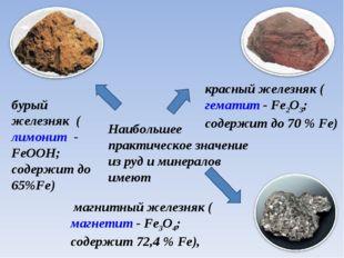 Наибольшее практическое значение из руд и минералов име