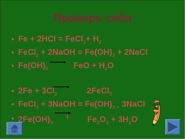 Проверь себя Fe + 2HCl = FeCl2+ H2 FeCl2 + 2NaOH = Fe(OH)2 + 2NaCl Fe(OH)2 Fe...