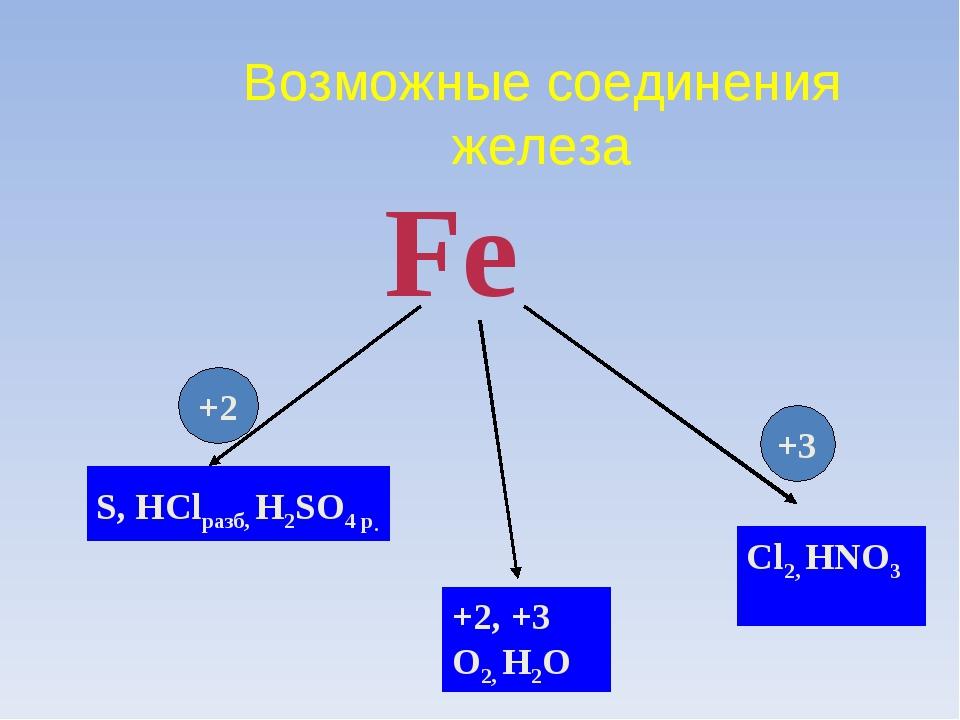 Возможные соединения железа Fe S, HСlразб, H2SO4 р. Cl2, HNO3 +2, +3 O2, H2O...