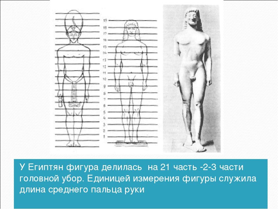 У Египтян фигура делилась на 21 часть -2-3 части головной убор. Единицей изме...
