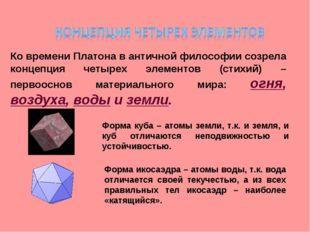 Ко времени Платона в античной философии созрела концепция четырех элементов (