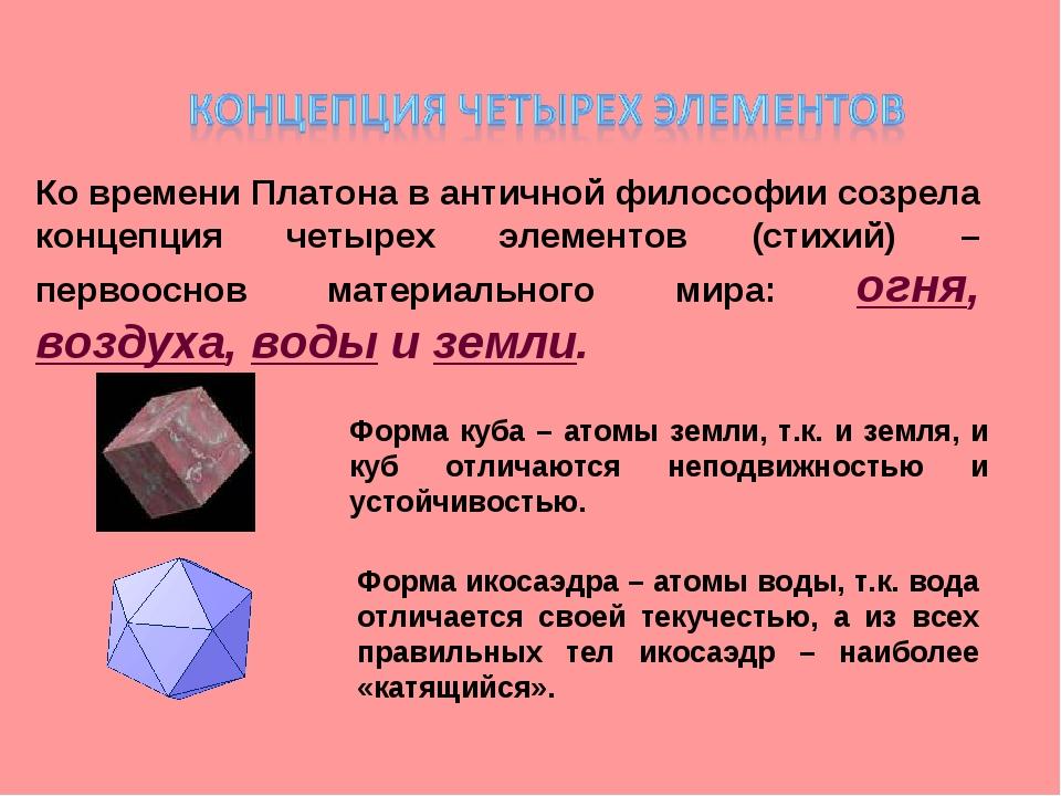 Ко времени Платона в античной философии созрела концепция четырех элементов (...