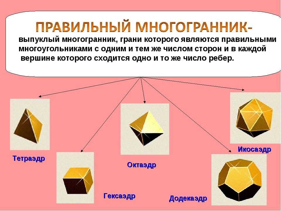 выпуклый многогранник, грани которого являются правильными многоугольниками...