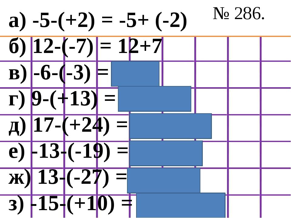 № 286. а) -5-(+2) = -5+ (-2) б) 12-(-7) = 12+7 в) -6-(-3) = -6+3 г) 9-(+13) =...
