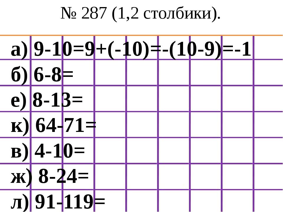 № 287 (1,2 столбики). а) 9-10=9+(-10)=-(10-9)=-1 б) 6-8= е) 8-13= к) 64-71= в...