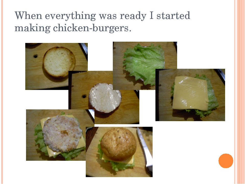 When everything was ready I started making chicken-burgers.