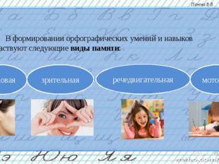 В формировании орфографических умений и навыков участвуют следующие виды пам