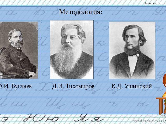 Методология: Ф.И. Буслаев К.Д. Ушинский Д.И. Тихомиров Панова В.В.