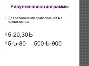 Рисунки-ассоциограммы Для запоминания правописания ь в числительных: 5-20,30