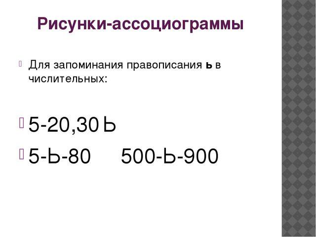 Рисунки-ассоциограммы Для запоминания правописания ь в числительных: 5-20,30...