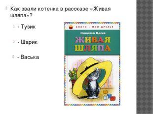 Как звали котенка в рассказе «Живая шляпа»? - Тузик - Шарик - Васька