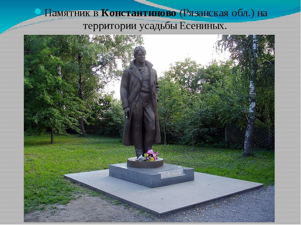 Памятник вКонстантиново(Рязанская обл.) на территории усадьбы Есениных.