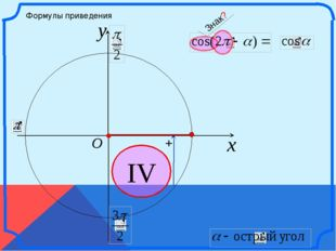 x y O IV Формулы приведения + Знак? \
